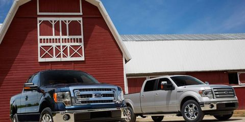 A view of the 2013 Ford F-150 pickups.