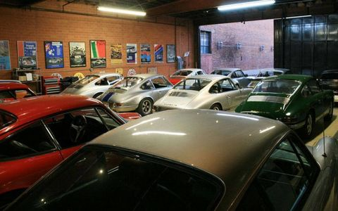 Inside the garage of Magnus Walker.