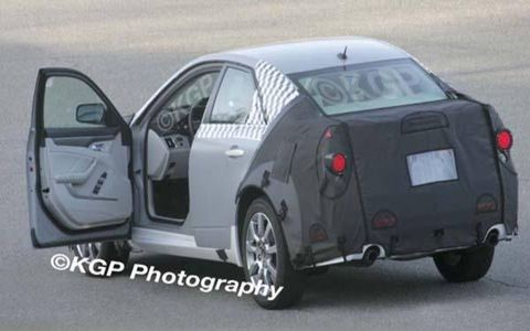 This 2008 Cadillac CTS test mule was caught by our spies. The sedan will be the basis for upcoming coupe and convertible CTS variants. Bob Lutz partially revealed the car on 60 Minutes.