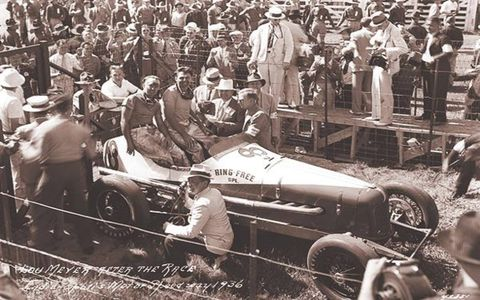 Louis Meyer becomes Indy's first three-time winner, and he is the first winner to receive the pace car (a Packard). It is also the first year of the Borg-Warner trophy, and Meyer drinks buttermilk after the race, leading to milk's ongoing presence in victory lane.