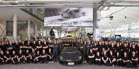Lamborghini celebrates the 2000th unit of the Aventador at its plant