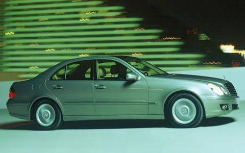 The E-Class has 2000 different parts from the previous-generation E, but—despite minor exterior modifications—the new car looks a lot like last year's. The car's handling is sharpened to meet the challenges posed by the strong-selling Audi A6 and the soon-to-be-facelifted BMW 5 Series, with Mercedes hoping to fend off the competition until the next-generation E-Class arrives in 2008. The E550 forgoes the old model's decade-old three-valve 5.0-liter V8 for a more advanced four-valve 5.5-liter V8 that made its debut in the S-Class last year. With a smoothly delivered 382 hp at 6000 rpm and 391 lb-ft of torque from 2800 rpm, the engine serves up 82 hp and 55 lb-ft over its predecessor.