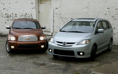 Quite a few folks around here questioned the idea of pitting a Mazda 5 against a Chevrolet HHR. These vehicles have little to nothing in common, they argued, and no one would ever cross-shop the two. Thing is, while we understand it's fairly easy to overlook their shared qualities, these two trucklet/wagon/minivan/crossover/whatcha-macallits have a ton in common, styling notwithstanding, and we think it would be a shame to shop one without considering the other. So in an effort to break the DoubleTake mold, we thought it a good idea to give our readers an eye-opening look at just how closely these two little people movers stack up.