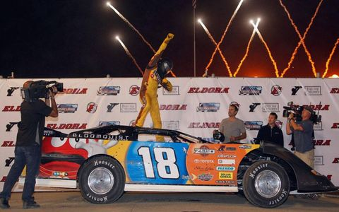 Kyle Busch captured the Late Model event at Eldora on Wednesday night.