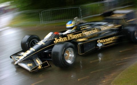 Bruno Senna driving the Lotus 97T made famous by his uncle Ayrton.