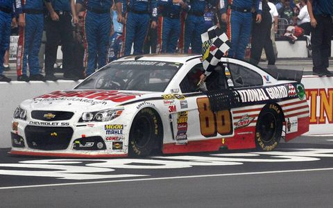 Dale Earnhardt Jr. passed Brad Keselowski with five laps to go and held on for the win at Pocono.