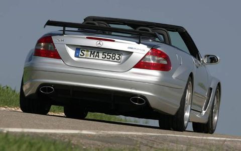 Sometimes it's best not to ask why, and simply be grateful a car exists at all. That's the way it is with the CLK DTM cabriolet, arguably the most outlandish Mercedes-Benz road car ever put into production. Attempting to make sense of this 5.4-liter, 582-hp supercharged V8-powered monster is a pointless exercise—the car makes no rational sense. But with a 4.0-second 0-to-62-mph time and a top speed limited to 186 mph, who needs rational? Billed as the world's fastest four-seat open-top, this breathtakingly expensive car is proof Mercedes will occasionally shrug off its corporate straitjacket and follow its instincts. The DTM cabriolet is a car that not only breaks with convention, but abandons it.