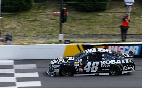 Jimmie Johnson is first to the finish line at Pocono.