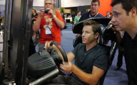 Tanner Foust tries out the new Playseat gaming chair.
