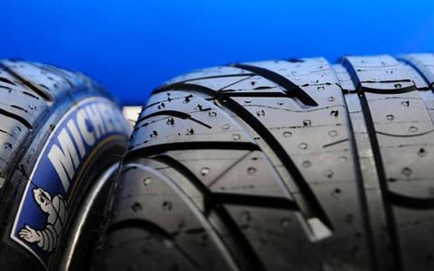 Two of the 6,500 tires Michelin has brought to Le Mans.
