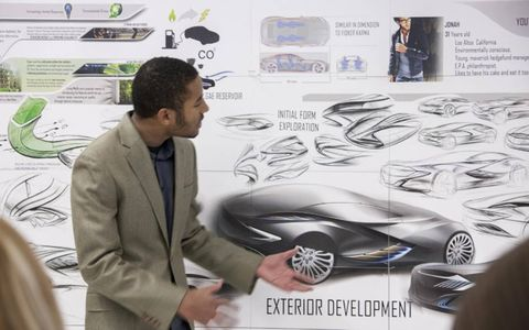 Justin Salmon, presents his Buick Cascade concept, which won the award for best use of materials.