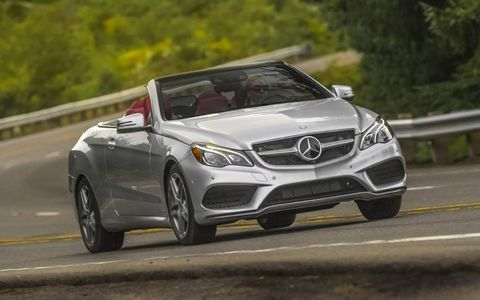 The 2014 Mercedes-Benz E550 Cabriolet receives an EPA-estimated 20 mpg combined fuel economy.