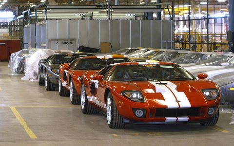Revealed as a concept at the 2002 Detroit auto show, the first GTs—paying homage to its ancestral cousin, the Ford GT40—were built in time for Ford's centennial in the summer of 2003. One year later, on June 30, 2004, the first GT production car was built. From concept to production, the Ford GT was one of the fastest projects ever completed at Ford, said Fred Goodnow, engineering manager for the GT.
