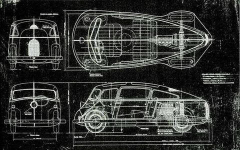 Automotive historian and author Gordon White passed us these renderings, which show a radically streamlined rear-engine vehicle imagined by Harry Miller.