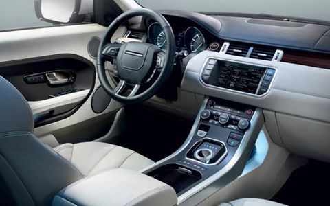 The interior of the 2013 Range Rover Evoque is functional and luxurious.
