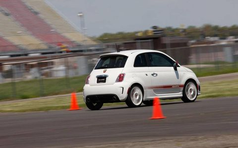 Fiat improved the 500's handling by lowering the chassis 0.6 inch, adding Koni FSD shocks and strapping on a rear antiroll bar.