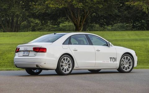 The 2014 Audi A8 L TDI receives an EPA-estimated 28 mpg combined fuel economy.