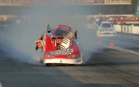Funny Car pilot Del Worsham took an end-over-end ride at the NHRA's season finale in Pomona, but walked away with only a broken tailbone.