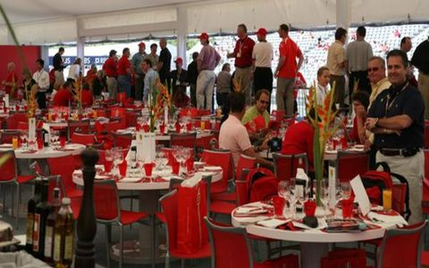 A view of the elite from within the Paddock Club.