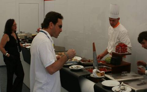 F1's circus includes gourmet chefs as part of it's travelling troupe.