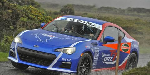 The Prius tires installed on the Subaru BRZ were superb at channeling rainwater out from under them