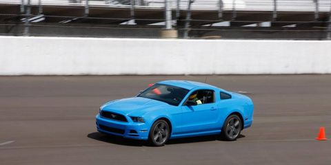 The Mustang suspension handled the rough transition from the banked oval onto the flat road course and vice versa better than any car in the test.