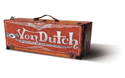 Von Dutch's personal pinstriped paint box