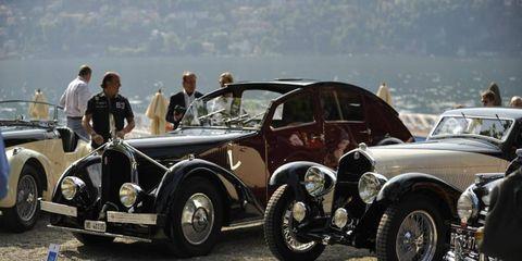 A 1935 Avions Vioisin C 25, left, next to the Gold Cup-winning 1933 Alfa Romeo 6C.
