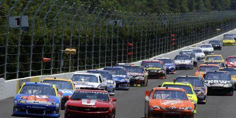 2012 NASCAR Pocono: Pace car, Carl Edwards, Joey Logano, The Home Depot Toyota Camry.
