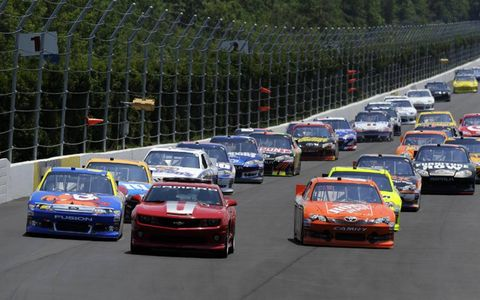 2012 NASCAR Pocono: Pace car, Carl Edwards, Joey Logano, The Home Depot Toyota Camry.