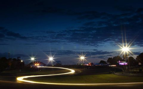 RAPIDLY INTO THE NIGHT // Qualifying at night at Circuit de La Sarthe, preparing for the 24 Hours of Le Mans.