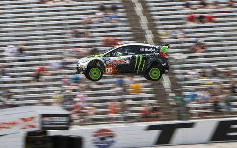 FLYING FOCUS//Ken Block flies through the air at Texas Motor Speedway during a Global Rallycross event.