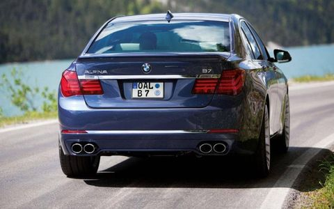 A rear view of the 2013 BMW Alpina B7.