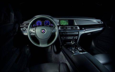 The instrument panel on the 2013 BMW Alpina B7.