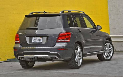 A rear view of the 2013 Mercedes-Benz GLK.