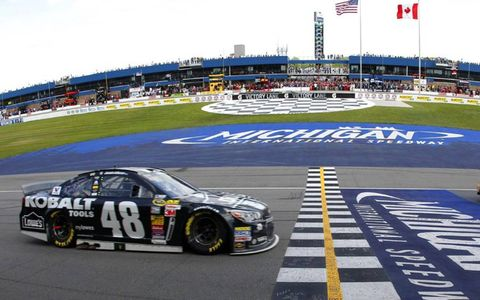Jimmie Johnson crosses the finish line at Michigan.