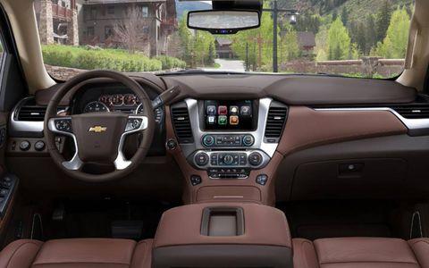 The interior of the 2015 Chevrolet Suburban LTZ has hint's of the Chevrolet Silverado.