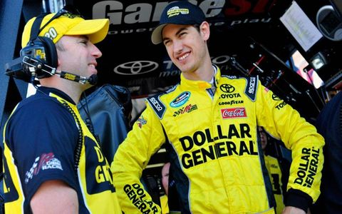 Joey Logano and crew chief Adam Stevens before the race.
