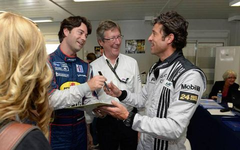 Patrick Dempsey, right, is popular with follow competitors, as well as officials and fans in France.