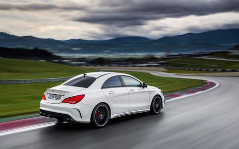 Based on the front-wheel-drive CLA250, the 2014 Mercedes-Benz CLA 45 AMG gets an all-wheel-drive system and a hot engine.