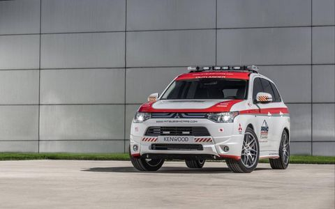 Two Mitsubishi Lancers and an Outback will be on hand for safety at the Pikes Peak International Hill Climb.