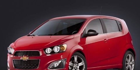 The 2013 Chevrolet Sonic RS receives an EPA-estimated 27 mpg city and 34 mpg highway.