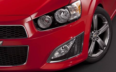 The 2013 Chevrolet Sonic RS is equipped with a 1.4-liter turbocharged I4.