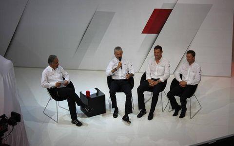 Allan McNish, Dindo Capello and Tom Kristensen at the Audi driver's press conference.