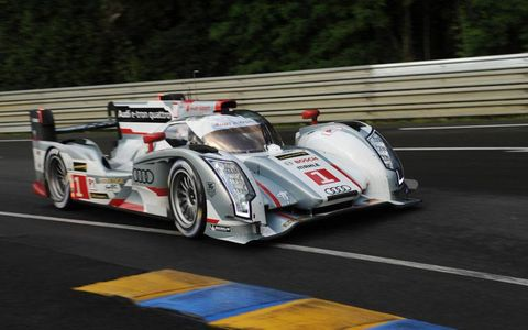 The No. 1 Audi qualifying at Le Mans on Thursday.