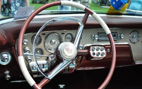 An interior view of push-button steering on the 1956 Packard Caribbean, owned by Neil Porter.