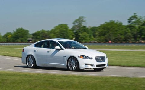The 2012 Jaguar XF Supercharged tips the scales at 4,306 lbs with 470 hp to help propel the British kitty down the road.