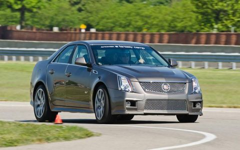 The 2012 Cadillac CTS-V has a supercharged V8 that churns out 556 horsepower.