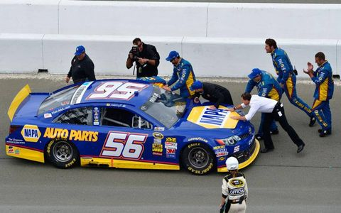 Martin Truex Jr. celebrates with his crew on his way to victory lane at Sonoma.