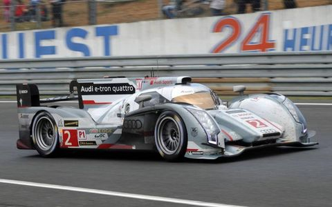 Tom Kristensen, Loic Duval and Allan McNish won the 24 Hours of LeMans with the Audi Sport Team Joest No.2 Audi R18 e-tron quattro.
